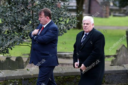 Peter Ridsdale makes his way into Stoke Minster prior to the funeral service of Gordon Banks