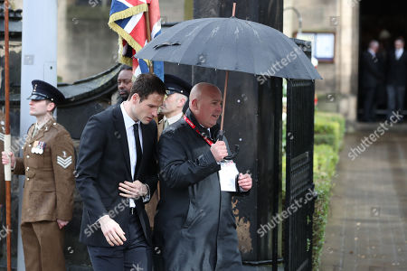Asmir Begovic makes his way into Stoke Minster prior to the e funeral service of Gordon Banks