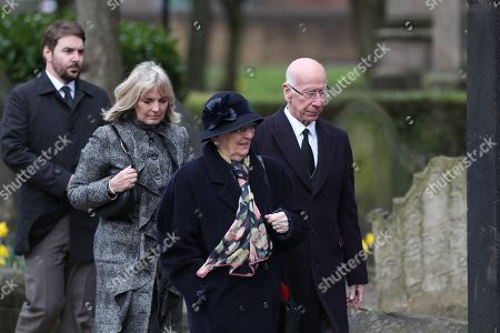 Stock Picture of Sir Bobby Charlton makes his way into Stoke Minster prior to the e funeral service of Gordon Banks
