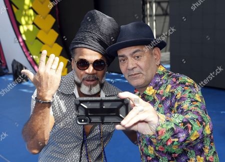 Stock Photo of Brazilian singer, composer and producer Carlinhos Brown (L) poses with Spanish actor Jose Corbacho (R) at a presser held at Las Palmas de Gran Canaria, Canary Islands, Spain, 04 March 2019. This year's theme of the Las Palmas' Carnival is 'A night in Rio'.