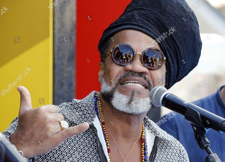 Brazilian singer, composer and producer Carlinhos Brown poses during a press conference on his participation in the carnival celebrations in Las Palmas de Gran Canaria, Canary Islands, Spain, 04 March 2019. This year's theme of Las Palmas' carnival is 'A Night in Rio'.