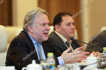 Greek Foreign Minister George Katrougalos looks on during a meeting with Chinese Foreign Minister in Beijing, China, 04 March 2019.
