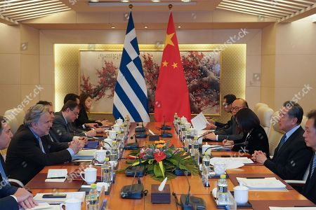 Editorial image of Greek Foreign Minister George Katrougalos meets Chinese Foreign Minister Wang Yi, Beijing, China - 04 Mar 2019