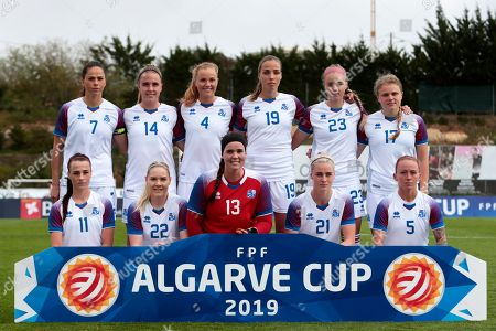 Stock Photo of Iceland players (back row, L-R) captain Sara Bjork Gunnarsdottir, Gudrun Arnardottir, Glodis Perla Viggosdottir, Anna Bjork Kristjansdottir, Andrea Ran Hauksdottir, Agla Maria Albersdottir;  (front row, L-R), Hallbera Gudny Gisladottir, Rakel Honnudottir, goalkeeper Sonny Lara Thrainsdottir, Svava Ros Gudmundsdottir, and Gunnhildur Yrsa Jonsdottir line up for the Algarve Cup group A soccer match between Iceland and Scotland in Parchal, Portugal, 04 March 2019.