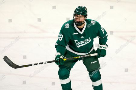 Stock Picture of Bemidji State's Brad Johnson skates against Minnesota State during an NCAA hockey game on in Mankato, Minn