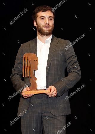 Ricardo Gomez poses for the photographers after receiving the 'Best Theatrical Actor' award during the Fotogramas de Plata 2018 awards in Madrid, Spain, 04 March 2019.