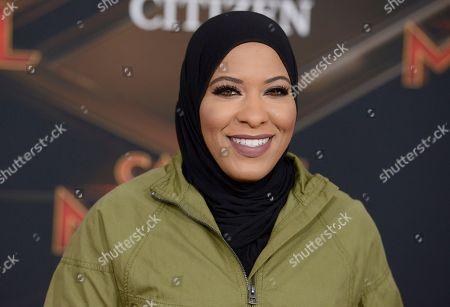 "Fencer Ibtihaj Muhammad arrives at the world premiere of ""Captain Marvel"", at the El Capitan Theatre in Los Angeles"
