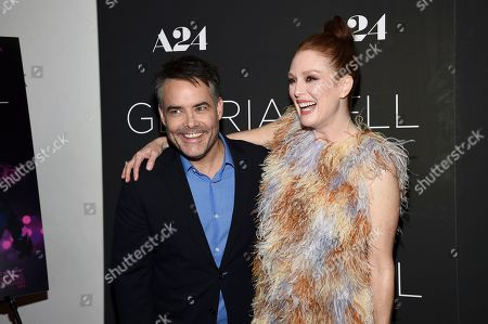 """Sebastian Lelio, Julianne Moore. Director and writer Sebastian Lelio, left, and actress Julianne Moore attend a special screening of """"Gloria Bell"""" at the Museum of Modern Art, in New York"""