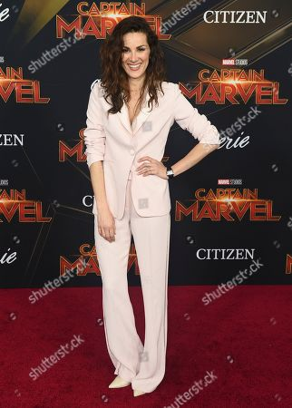 """Stefania Spampinato arrives at the world premiere of """"Captain Marvel"""", at the El Capitan Theatre in Los Angeles"""
