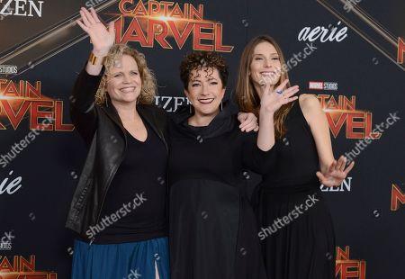 "Stock Image of Meg LeFauve, Nicole Perlman, Geneva Robertson-Dworet. Writers Meg LeFauve, from left, Nicole Perlman and Geneva Robertson-Dworet arrive at the world premiere of ""Captain Marvel"", at the El Capitan Theatre in Los Angeles"