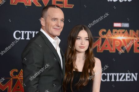 "Clark Gregg, Stella Gregg. Clark Gregg, left, and his daughter Stella Gregg arrive at the world premiere of ""Captain Marvel"", at the El Capitan Theatre in Los Angeles"