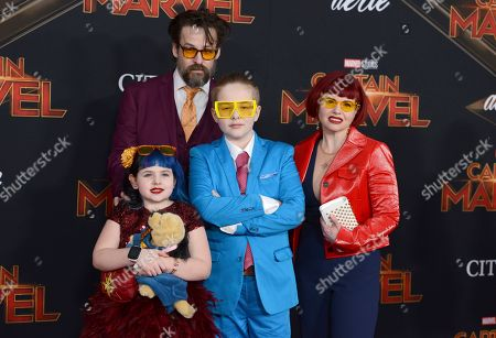 "Stock Picture of Kelly Sue DeConnick, Matt Fraction, Tallulah Fritchman, Henry Fritchman. Comic book writers Kelly Sue DeConnick, right, Matt Fraction, second left, and their children Tallulah Fritchman, left, and Henry Fritchman arrive at the world premiere of ""Captain Marvel"", at the El Capitan Theatre in Los Angeles"