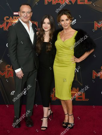 "Clark Gregg, Jennifer Grey, Stella Gregg. Clark Gregg, left, Jennifer Grey, right, and their daughter Stella Gregg arrive at the world premiere of ""Captain Marvel"", at the El Capitan Theatre in Los Angeles"