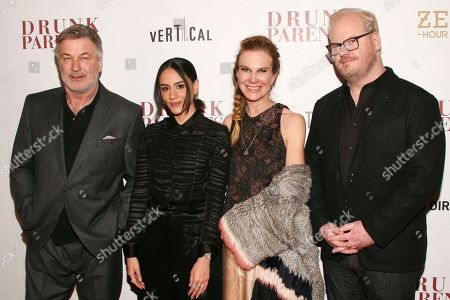 "Stock Image of Alec Baldwin, Michelle Veintimilla, Jeannie Gaffigan, Jim Gaffigan. Alec Baldwin, Michelle Veintimilla, Jeannie Gaffigan and Jim Gaffigan attend the premiere of ""Drunk Parents"" at the Roxy Cinema, in New York"