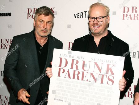 "Alec Baldwin, Jim Gaffigan. Alec Baldwin, left, and Jim Gaffigan, right, attend the premiere of ""Drunk Parents"" at the Roxy Cinema, in New York"