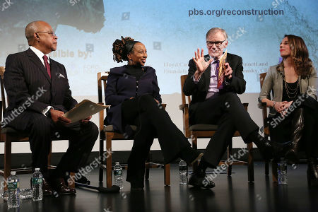 "Stock Photo of Henry ""Skip"" Gates, Jr., Kimberle Crenshaw, David Blight and Julia Marchesi"