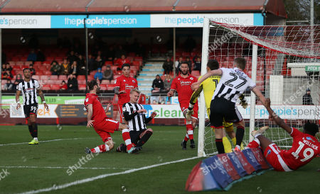 Crawley's Joe McNerney tryst to latch onto a stray ball in the box during the EFL League 2 match between Crawley Town and Grimsby Town at the Peoples Pension Stadium in Crawley. 09 March 2019  Photo: James Boardman / Telephoto Images