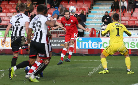 Crawley's Joe McNerney heads towards goal during the EFL League 2 match between Crawley Town and Grimsby Town at the Peoples Pension Stadium in Crawley. 09 March 2019  Photo: James Boardman / Telephoto Images