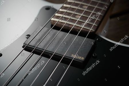 Detail Of The Humbuckers On A Squier Contemporary Active Stratocaster Hh Electric Guitar With An Olympic White Finish
