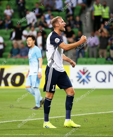 Ola Toivonen of Melbourne celebrates after scoring the 1-0 lead during the AFC Champions League group F soccer match between Melbourne Victory and Daegu FC in Melbourne, Australia, 05 March 2019.