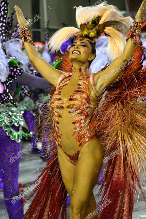 Stock Image of Actress Juliana Paes as the Drum Queen of the Grande Rio samba school during the competition between the schools in Rio de Janeiro at the Sambadrome