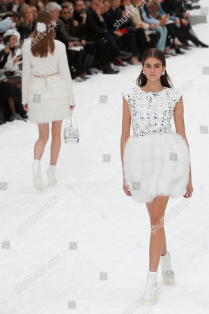 Model Kaia Jordan Gerber wears a creation as part of the Chanel ready to wear Fall-Winter 2019-2020 collection, that was presented in Paris