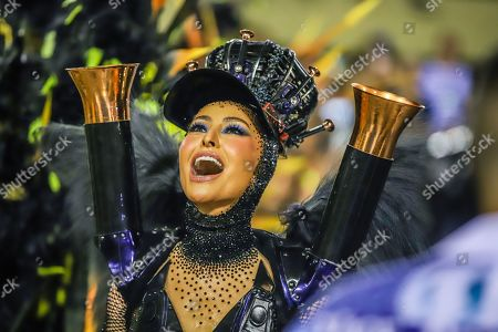 Stock Picture of Sabrina Sato Queen of the battery of the Samba School Vila Isabel during a parade of the 2019 Carnival Special Group at the Sambodromo Marques do Sapucai
