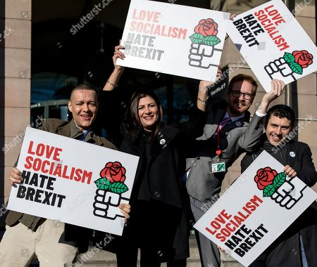 """Labour MP Clive Lewis joins a group of Labour MPs and supporters outside Portcullis House for a """"Love Socialism, Hate Brexit"""" photocall."""