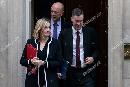 Stock Picture of British Secretary of State for Work and Pensions Amber Rudd (L) Secretary of State for Transport Chris Grayling (C) and Lord Chancellor and Secretary of State for Justice David Gauke (R) arrive for a Cabinet Meeting in 10 Downing Street, London, Britain, 05 March 2019.