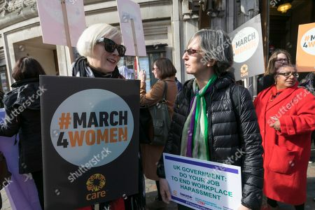 Following a meeting in Central Hall, Westminster, Helen Pankhurst (right centre) great-granddaughter of the sufragette Emmeline Pankhurst leads campaigners on their way to Parliament to lobby MPs about ending harassment in the workplace.