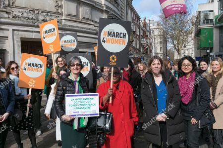 Following a meeting in Central Hall, Westminster, Helen Pankhurst great-granddaughter of the sufragette Emmeline Pankhurst with Labour MP Jess Phillips leads campaigners on their way to Parliament to lobby MPs about ending harassment in the workplace.