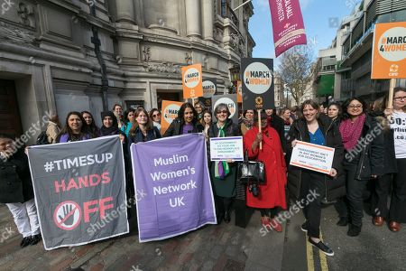 Following a meeting in Central Hall, Westminster, Helen Pankhurst great-granddaughter of the sufragette Emmeline Pankhurst leads campaigners on their way to Parliament to lobby MPs about ending harassment in the workplace.