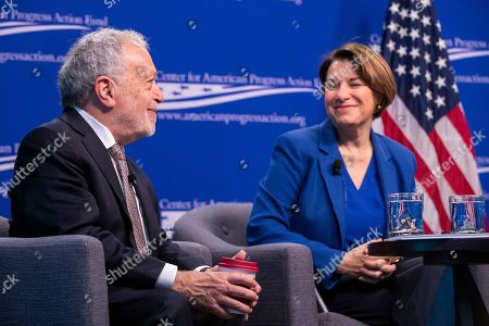 Stock Photo of Democratic Senator of Minnesota and 2020 presidential candidate Amy Klobuchar (R) and former US Labor Secretary Robert Reich (L) speak at the Center for American Progress in Washington, DC, USA, 05 March 2019. Klobuchar spoke on the concentration of economic power and its affect on democracy.