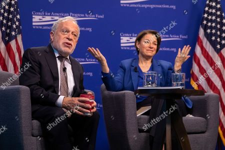 Democratic Senator of Minnesota and 2020 presidential candidate Amy Klobuchar (R) and former US Labor Secretary Robert Reich (L) speak at the Center for American Progress in Washington, DC, USA, 05 March 2019. Klobuchar spoke on the concentration of economic power and its affect on democracy.