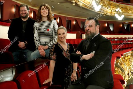 Spanish tenor Celso Albelo (L), Swiss mezzo-soprano Eve Maud Hubeaux (2-L), German soprano Diana Damrau (2-R) and Spanish baritone Carlos Alvarez (R) pose for the photographers during the presentation of the opera 'Hamlet' at Gran Teatre del Liceu in Barcelona, Catalonia, Spain, 05 March 2019. The opera 'Hamlet' is by French composer Ambrois Thomas and directed by Israeli musician Daniel Oren.