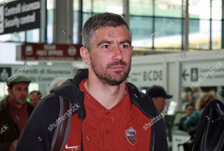 AS Roma Roma defender Aleksander Kolarov is seen prior to the team's departure at Fiumicino Airport, Italy, 05 March 2019. AS Roma will play FC Porto in the UEFA Champions League round of 16 second leg soccer match on 06 march 2019.