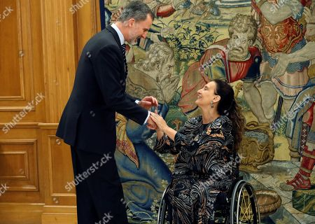 Stock Photo of Spain's King Felipe VI (L) greets Vice President of Argentina Gabriela Michetti (R) during their meeting held at Zarzuela Palace in Madrid, Spain, 05 March 2019.