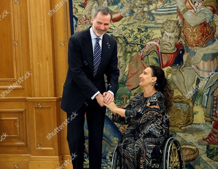 Stock Picture of Spain's King Felipe VI (L) greets Vice President of Argentina Gabriela Michetti (R) during their meeting held at Zarzuela Palace in Madrid, Spain, 05 March 2019.