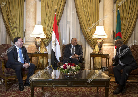 Egyptian Foreign Minister Sameh Shoukry (C) meets with his counterparts from Algeria Abdelkader Messahel (R) and Tunisia Khemaies Jhinaoui (L) in Cairo, Egypt, 05 March 2019. The meeting was held to discuss the developments in Libya and the recent agreement between rivals to hold the long-awaited elections to end the conflict in the country.