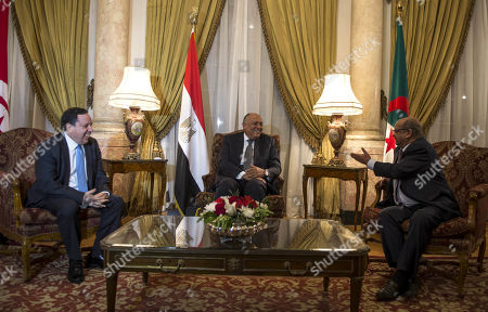 Stock Image of Egyptian Foreign Minister Sameh Shoukry (C) meets with his counterparts from Algeria Abdelkader Messahel (R) and Tunisia Khemaies Jhinaoui (L) in Cairo, Egypt, 05 March 2019. The meeting was held to discuss the developments in Libya and the recent agreement between rivals to hold the long-awaited elections to end the conflict in the country.