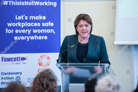 Maria Miller MP, Conservative MP for Basingstoke, and Chair of the Women and Equalities Committee (WEC) talks to supporters before the lobby