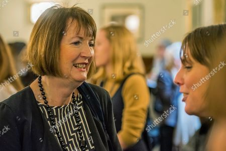 Harriet Harman MP talks to Jess Phillips MP, Labour Party MP for Birmingham Yardley, at the lobby in Parliament