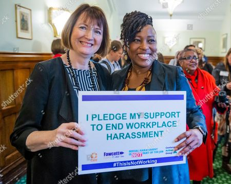 Harriet Harman MP with Dr Shola Mos-Shogbamimu at the lobby in Parliament