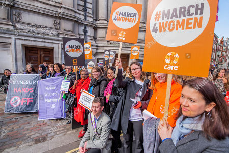 Helen Pankhurst (with Jess Phillips MP, Labour Party MP for Birmingham Yardley) leads a lobby of parliament calling for an end to harrassment in the workplace