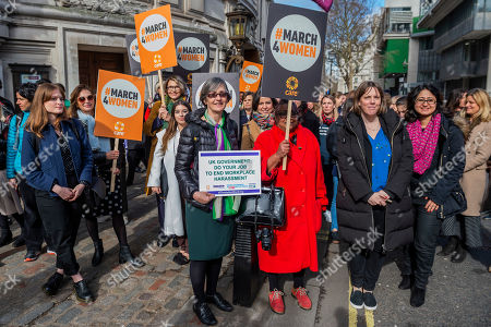 Helen Pankhurst (with Jess Phillips MP, Labour Party MP for Birmingham Yardley) leads a lobby of parliament calling for an end to harrassment in the workplace.