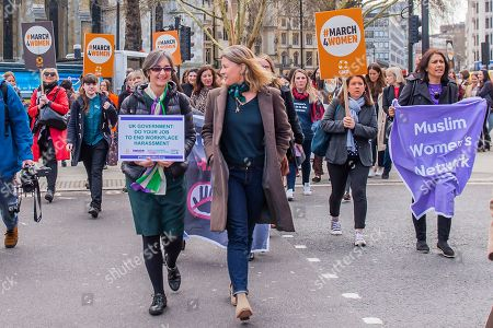 Helen Pankhurst leads a lobby of parliament calling for an end to harrassment in the workplace.