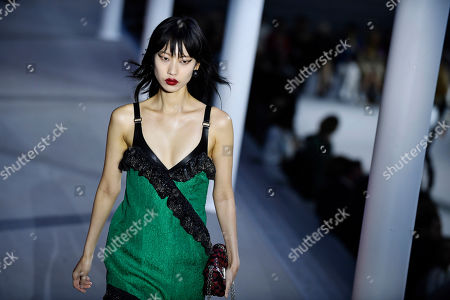 Stock Image of South Korean model Heejung Park presents a creation from the Fall/Winter 2019/20 Women collection by Louis Vuitton during the Paris Fashion Week, in Paris, France, 05 March 2019. The presentation of the Women collections runs from 25 February to 05 March.