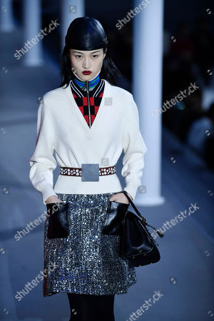 Chinese model Jing Wen presents a creation from the Fall/Winter 2019/20 Women collection by Louis Vuitton during the Paris Fashion Week, in Paris, France, 05 March 2019. The presentation of the Women collections runs from 25 February to 05 March.