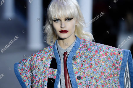 Stock Photo of US model Elise Agee presents a creation from the Fall/Winter 2019/20 Women collection by Louis Vuitton during the Paris Fashion Week, in Paris, France, 05 March 2019. The presentation of the Women collections runs from 25 February to 05 March.
