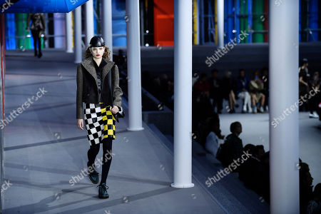 Stock Picture of Model Giselle Norman presents a creation from the Fall/Winter 2019/20 Women collection by Louis Vuitton during the Paris Fashion Week, in Paris, France, 05 March 2019. The presentation of the Women collections runs from 25 February to 05 March.